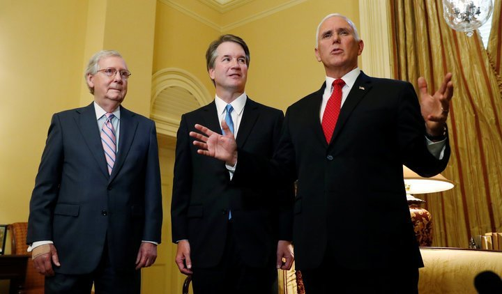 U.S. Supreme Court nominee Kavanaugh meets with Senate Majority Leader McConnell and VP Pence on Capitol Hill in Washington